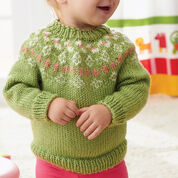 Caron Girls' Garden Flowers Fair Isle Yoke Sweater, 18 mos