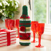 Red Heart Striped Bottle Cozy