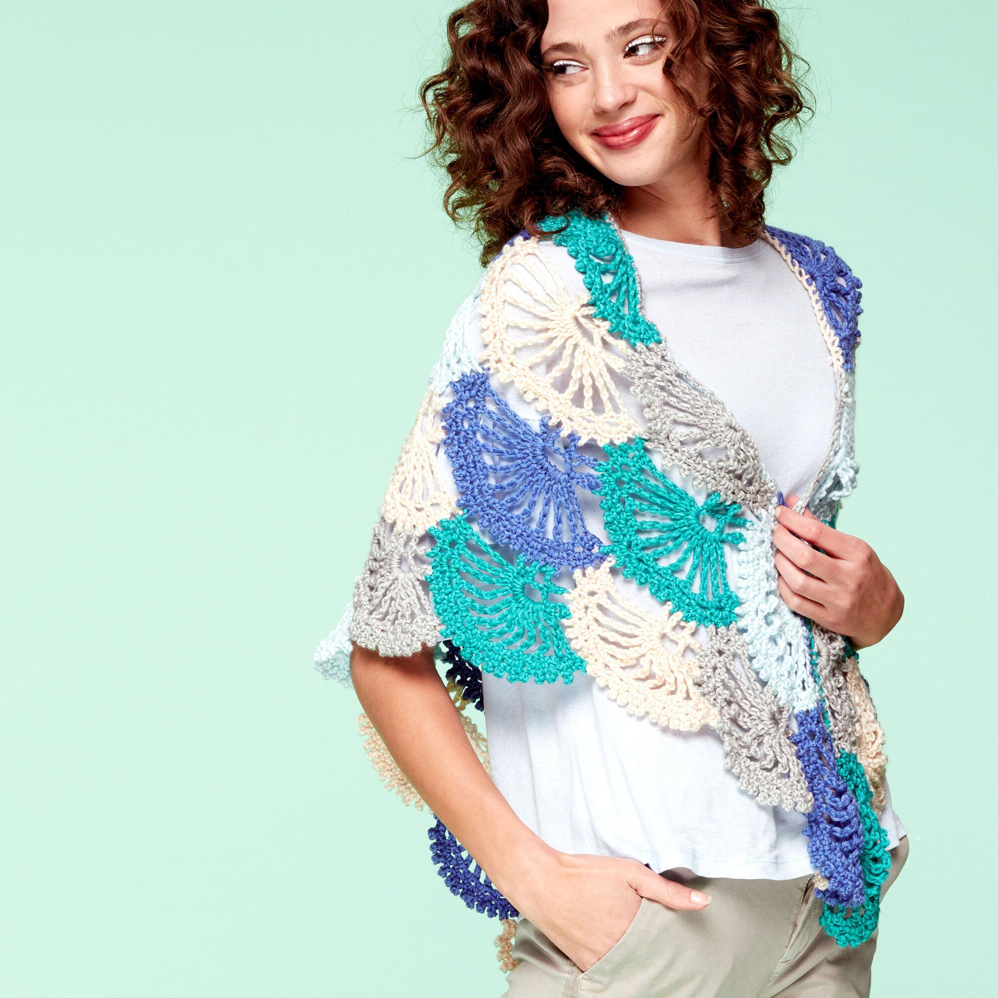 Caron x Pantone Lace Fans Crochet Shawl Pattern | Yarnspirations