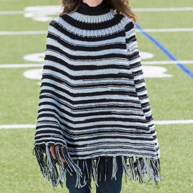 Red Heart Game Ready Knit Poncho, S/M in color
