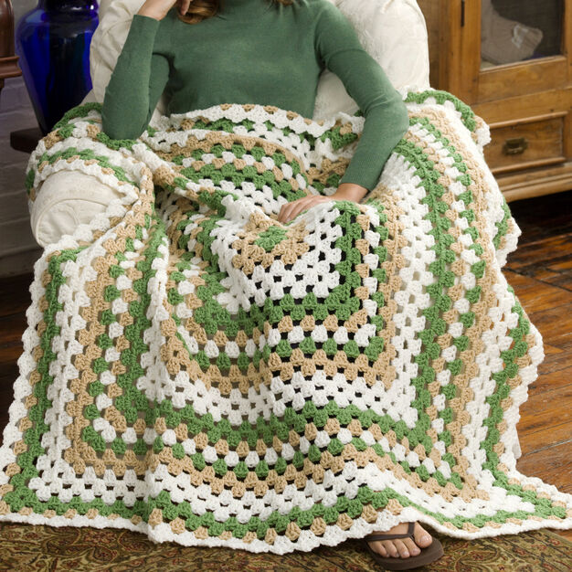 Red Heart Weekend Granny Throw in color
