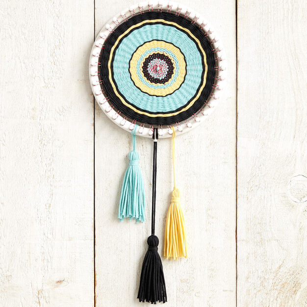 Bernat Circle Loom Weaving in color