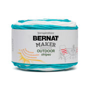 Bernat Maker Outdoor Stripes Yarn, Fresh Teal Stripe