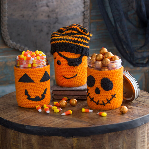 Red Heart Halloween Jar Cozies in color