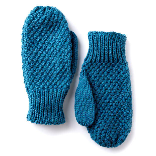 Caron Textured Family Knit Mittens Yarnspirations