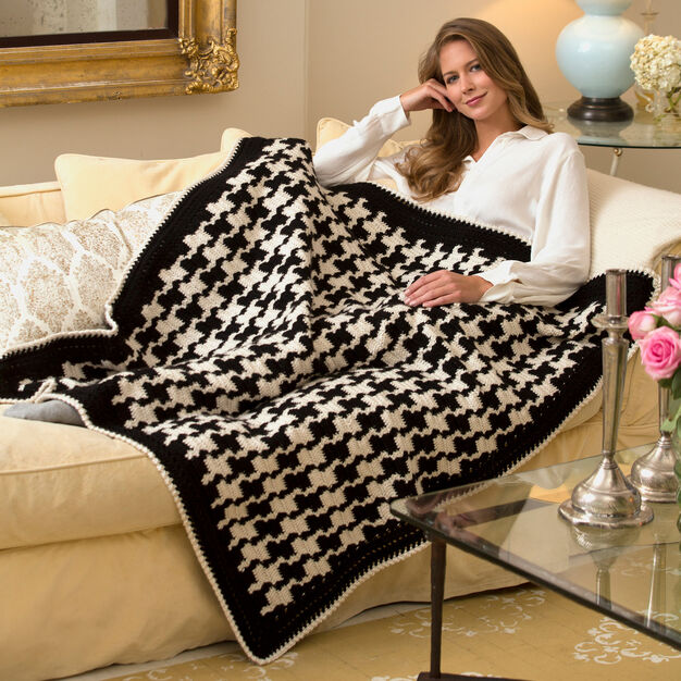 Red Heart Houndstooth Throw in color