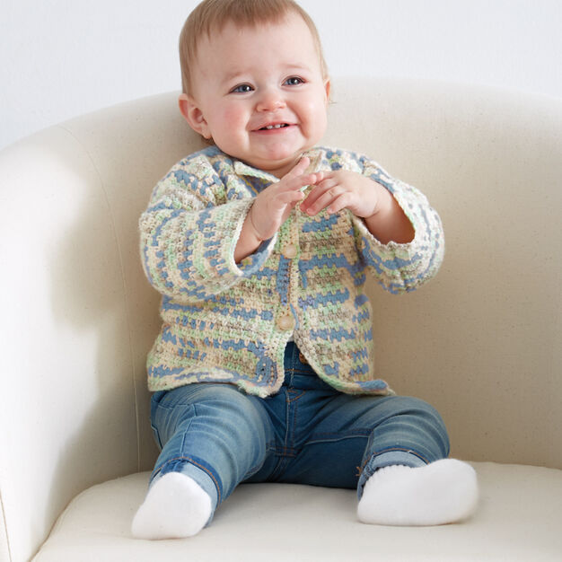 Bernat Baby's First Cardigan, 6/12 mos in color