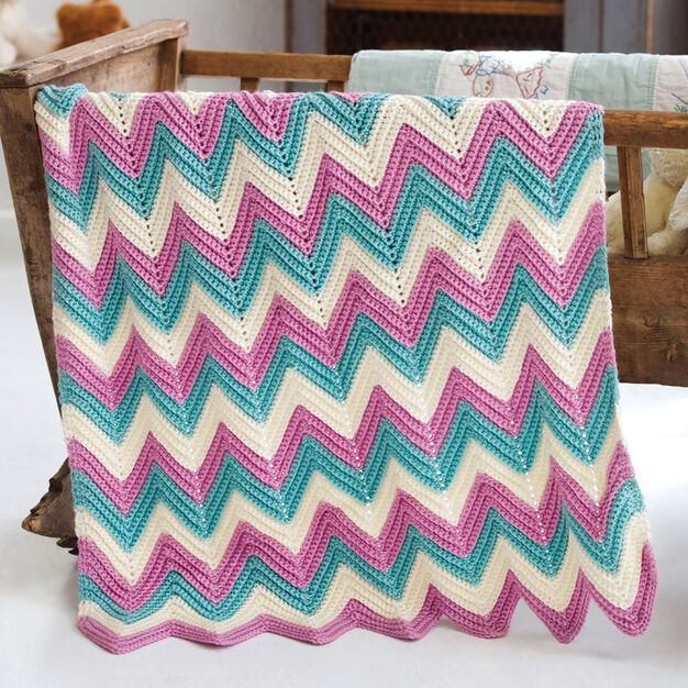 Caron Zig-Zag Baby Blanket, Version 1
