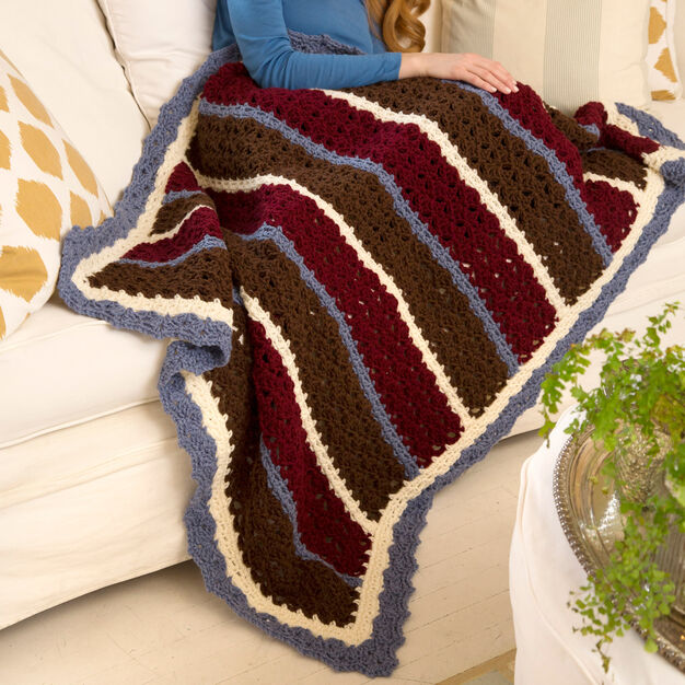 Red Heart Chunky Shells & Stripes Throw in color