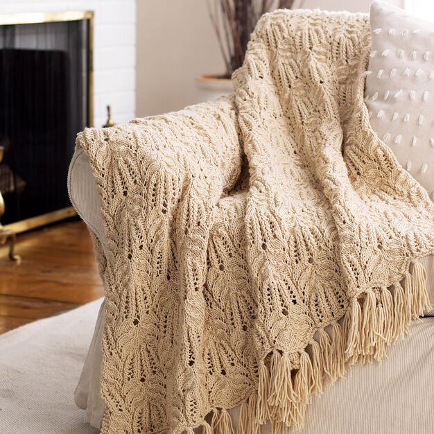 Bernat Lace and Cable Afghan, Ombre