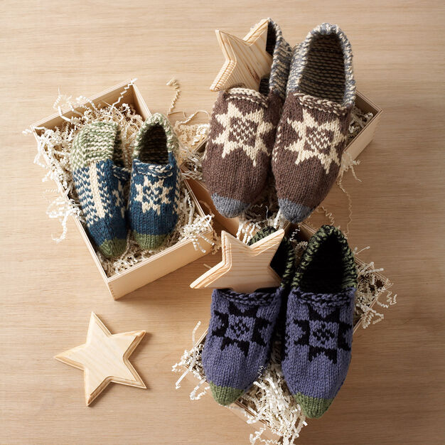 Bernat Fair Isle Slippers, Child - 4 Yrs in color