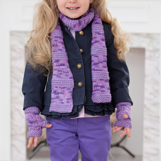 Red Heart Berry-licious Scarf & Wristers, 2 yrs in color