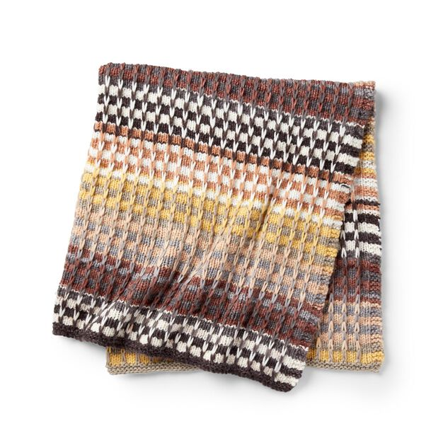 Caron Double the stripes Knit Blanket in color