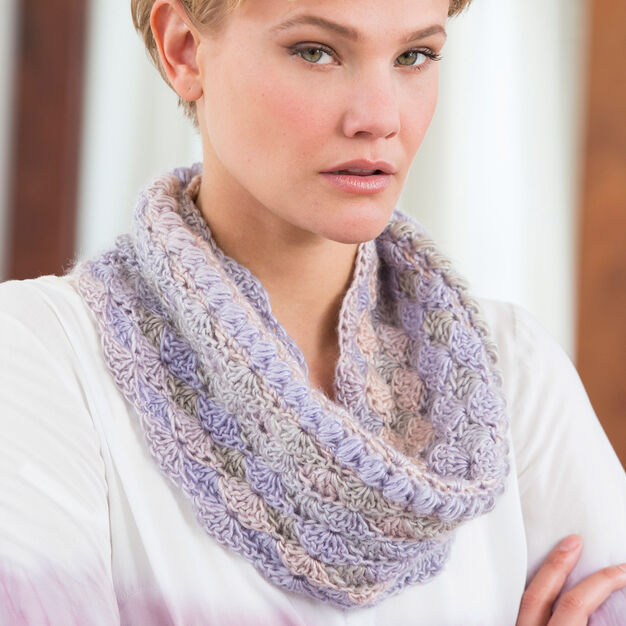 Red Heart Le Papillon Blushing Cowl in color