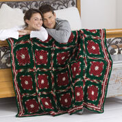 Red Heart Poinsettia Throw