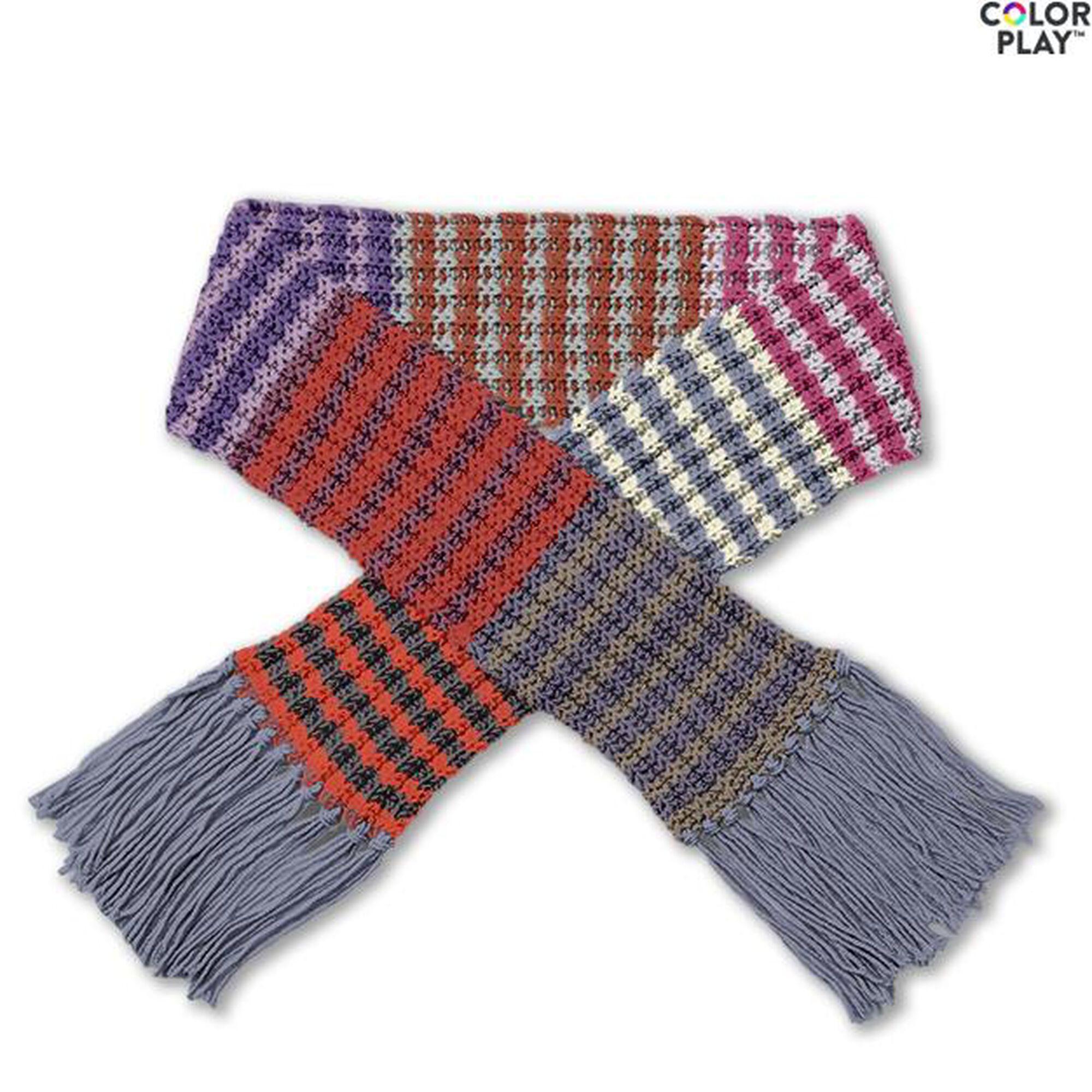 Caron x Pantone Knit Stripe Scarf Free Pattern | Yarnspirations