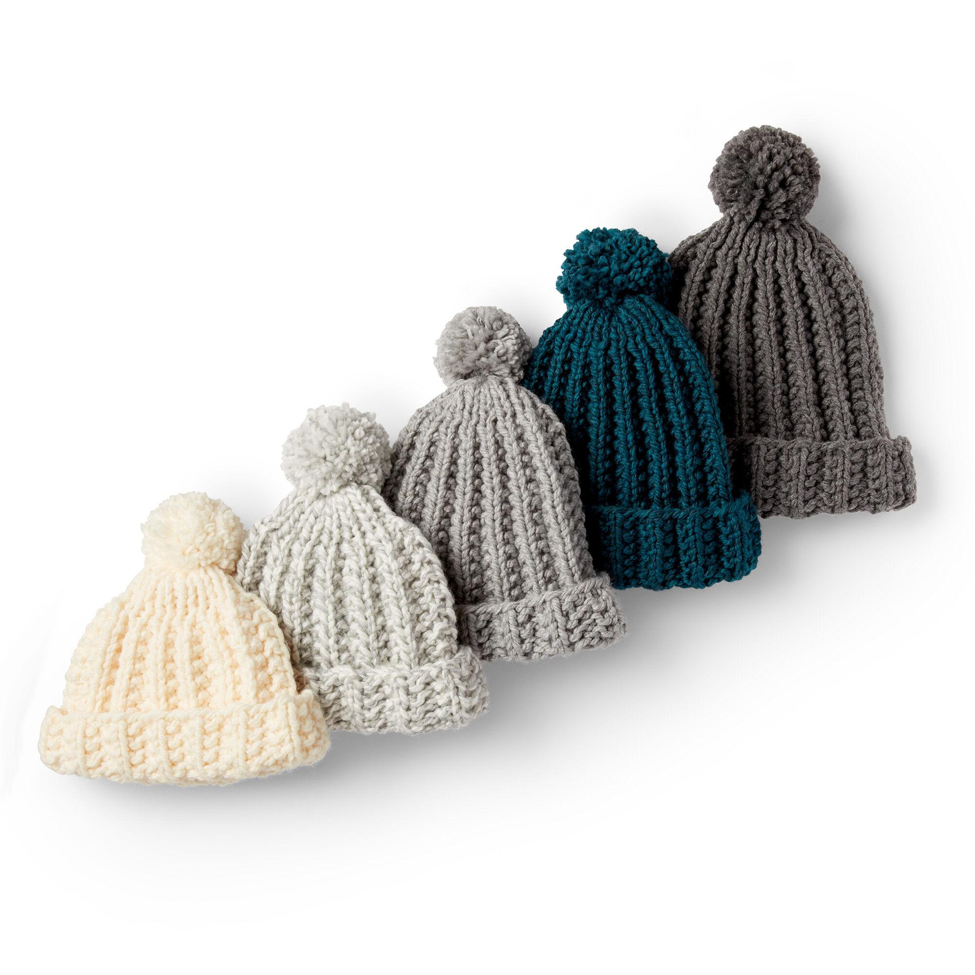 Bernat Basic Knit Ribbed Family Hat, Gary Ragg - Size 2/4 ...