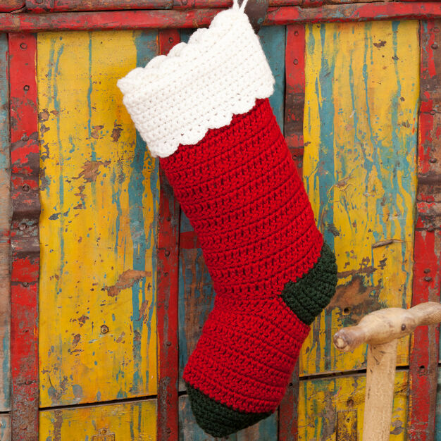 Red Heart Crochet Christmas Stocking in color