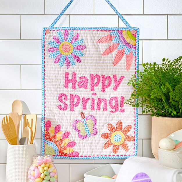 Dual Duty Happy Spring Banner Wall Hanging in color