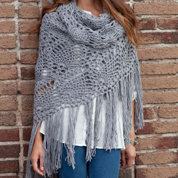 Red Heart Sidewalk Shawl in color