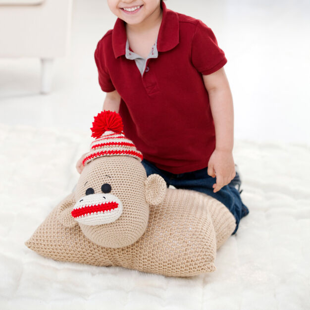 Red Heart Sock Monkey Pillow Pal in color