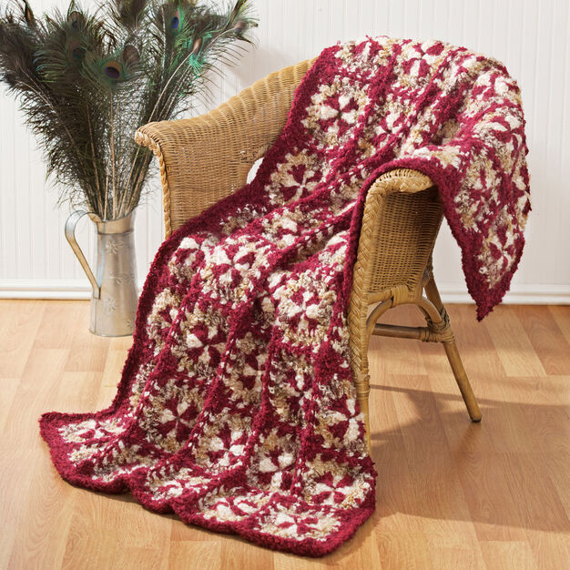 Red Heart Crochet Rich Treasure Throw in color