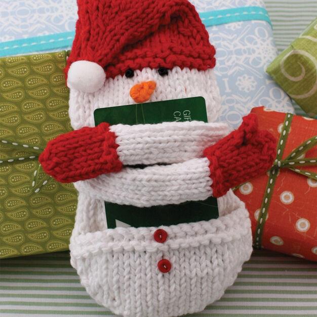 Lily Sugar'n Cream Snow Man Knit Gift Card Cozy