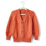 Caron Child's Knit V-Neck Cardigan, Size 2