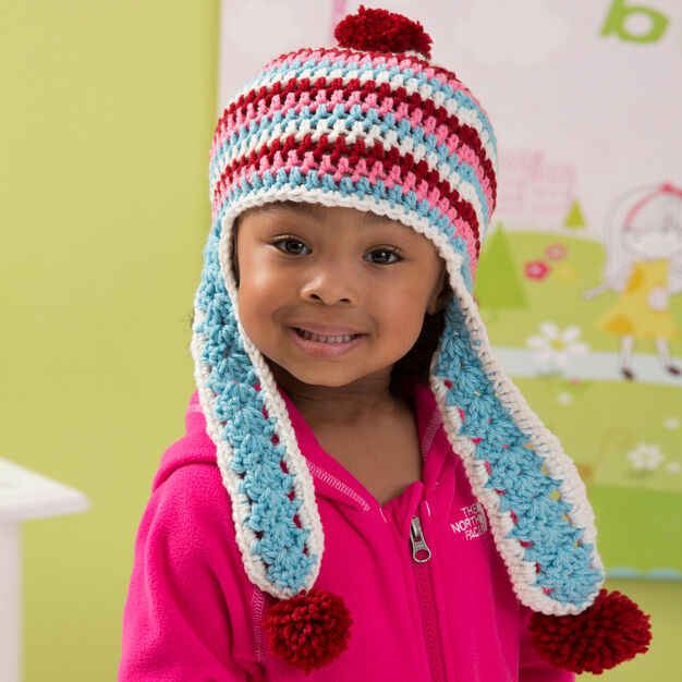 Red Heart Snowy Day Earflap Hat, S