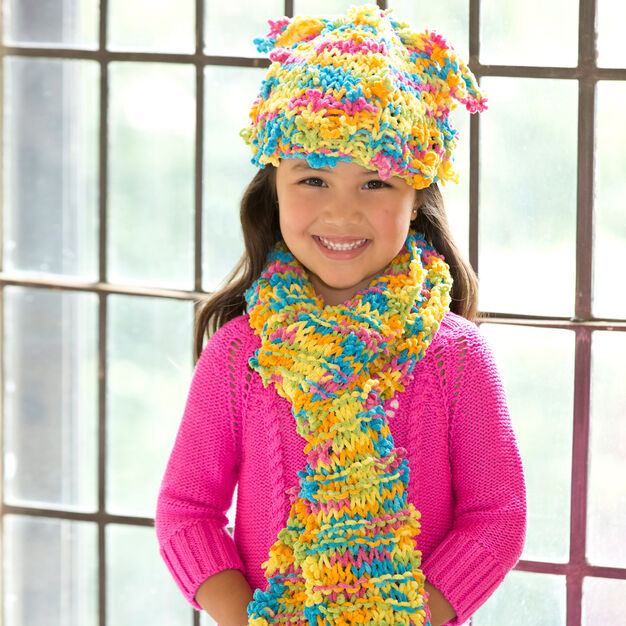 Red Heart Funky Fun Hat & Scarf