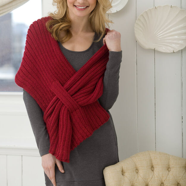 Red Heart Ribbed Slit Shawl, S in color