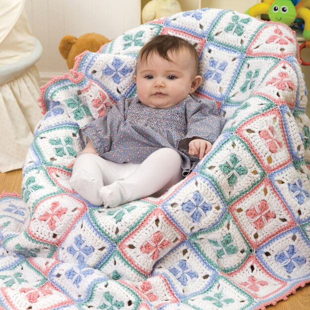 Red Heart Baby Checks Blanket in color