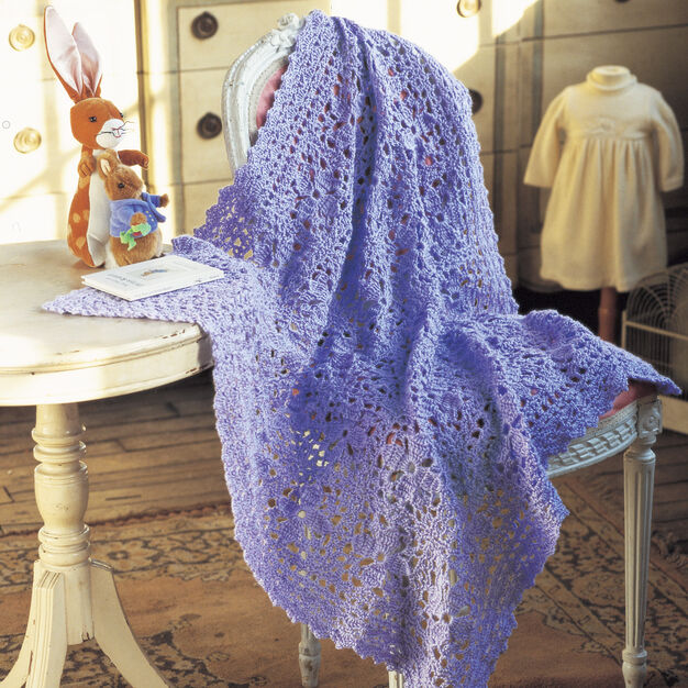 Red Heart Lacy Lilac Blanket in color