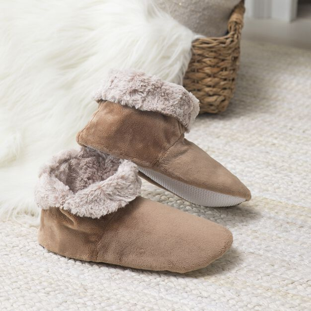 Dual Duty Sew Cozy Boot Slippers using Faux Fur in color