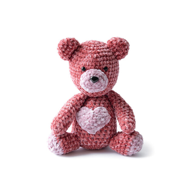 Bernat Velvet Valentine Crochet Bear in color