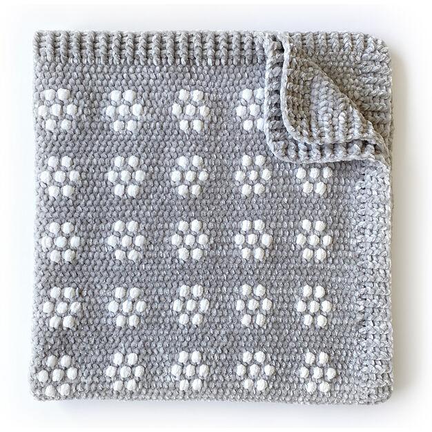 Bernat Velvet Flowers Crochet Baby Blanket in color