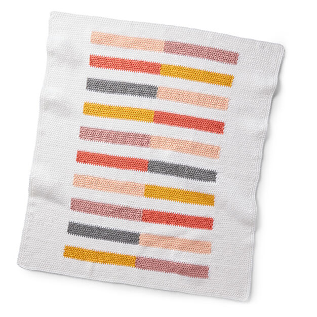 Caron Crochet Colorful Half-Stripe Baby Blanket, Baby Girl in color