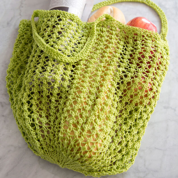 Red Heart Lacy Knit Market Bag in color