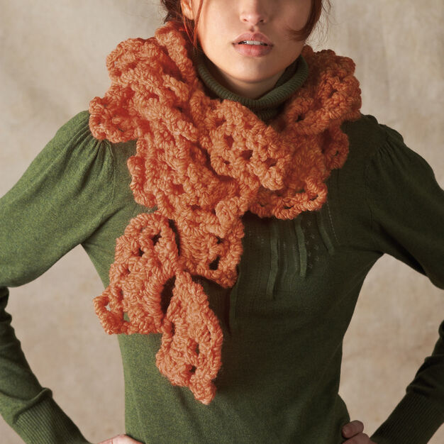 Red Heart Swirling Fans Scarf in color