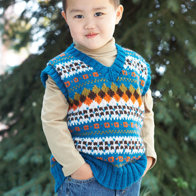Patons Child's V-Neck Fair Isle Vest, 2 yrs