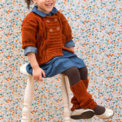 Red Heart Cabled Knit Sweater & Leg Warmers, 4 yrs