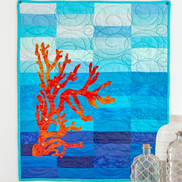 Dual Duty Coral & Blue Wall Hanging in color