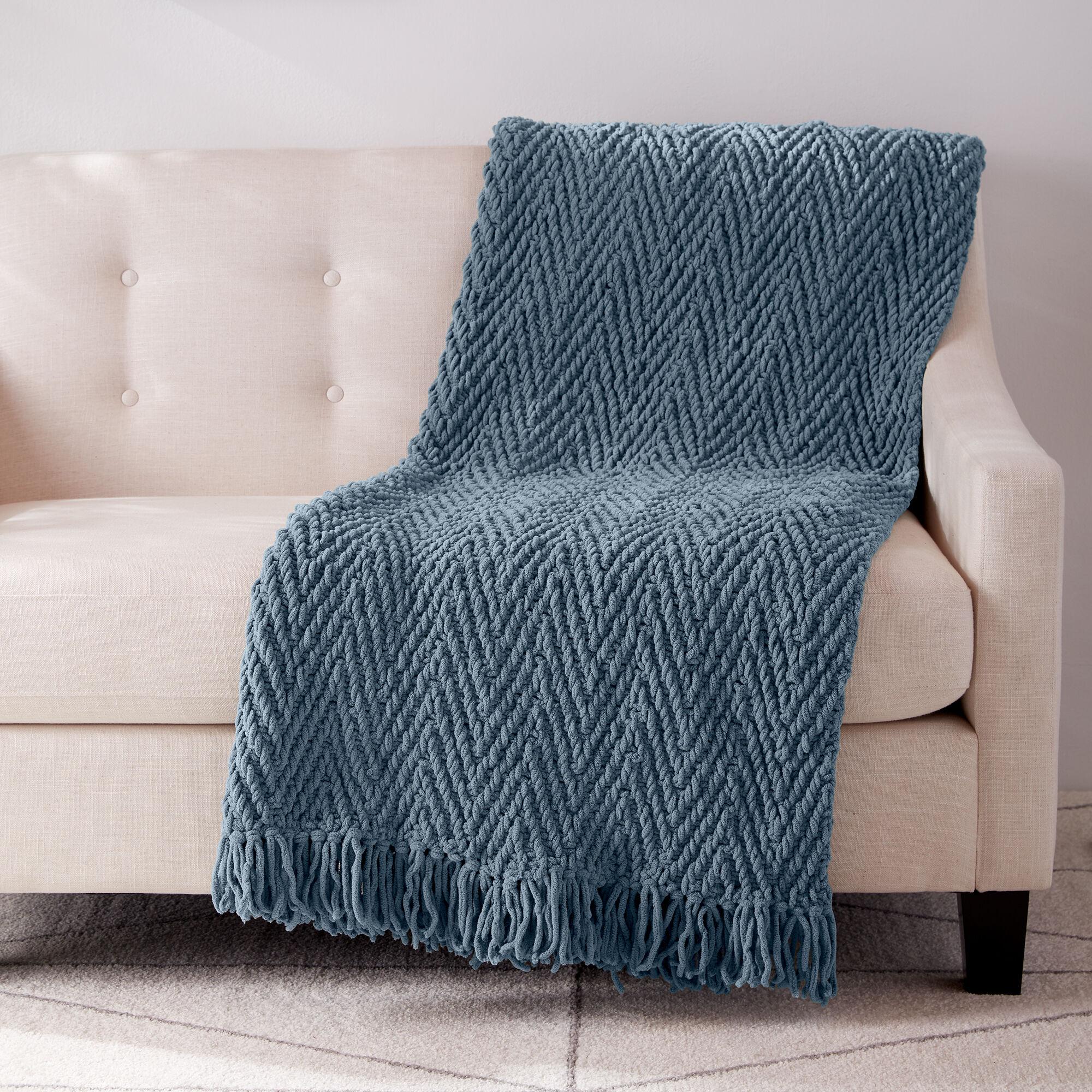 Bernat Herringbone Weave Knit Blanket Pattern   Yarnspirations