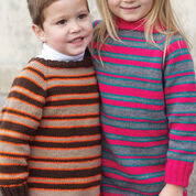 Patons Top Down Super Stripes Sweater, Boy's - 4 yrs