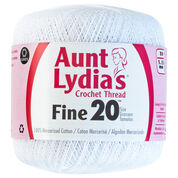 Go to Product: Aunt Lydia's Fine Crochet Thread Size 20, White in color White