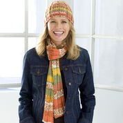 Red Heart Ribs on Auto Stripe Hat and Scarf