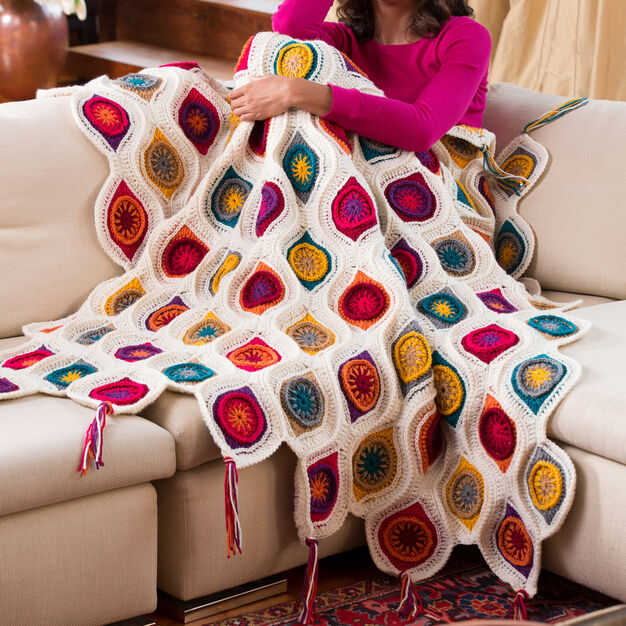 Red Heart Graphic Fall Throw in color