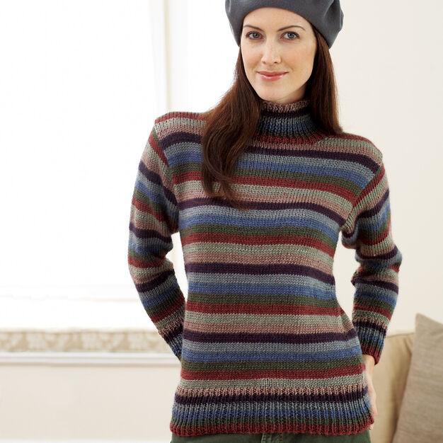 Bernat Striped Turtleneck Sweater, XS/S