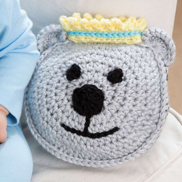 Red Heart Prince Bear Pillow and Hat, Baby in color