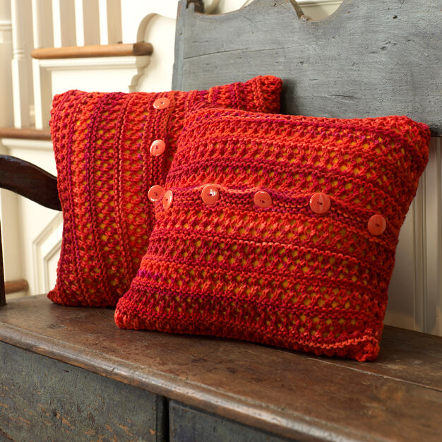 Red Heart Button Up Chair Pillow in color